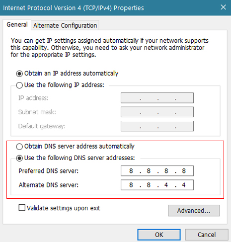 Set DNS Server manually