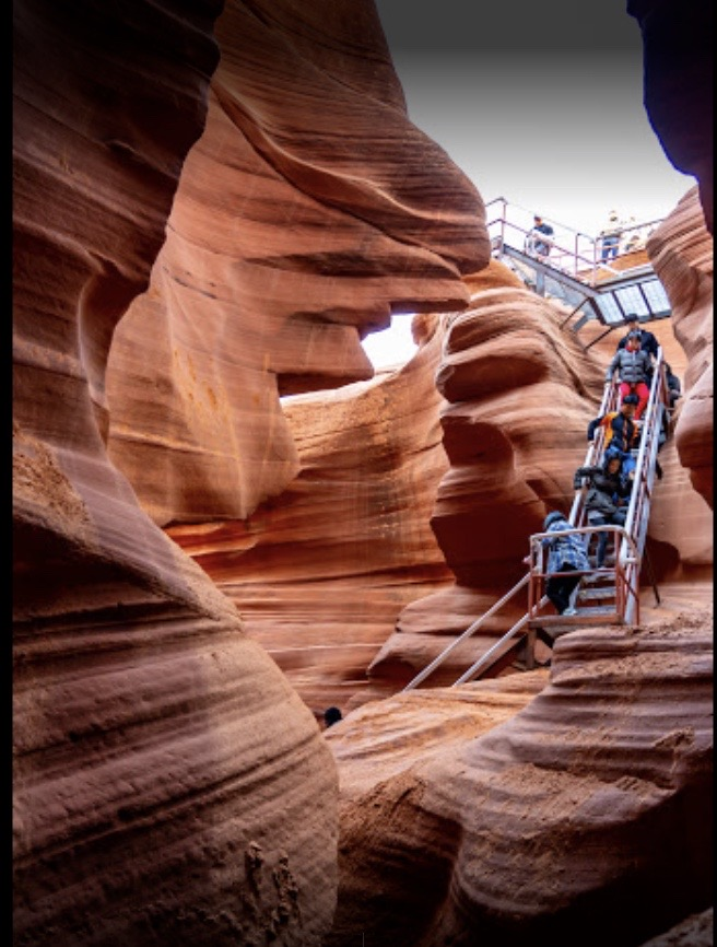Descending the Stairs at Lower Antelope Canyon