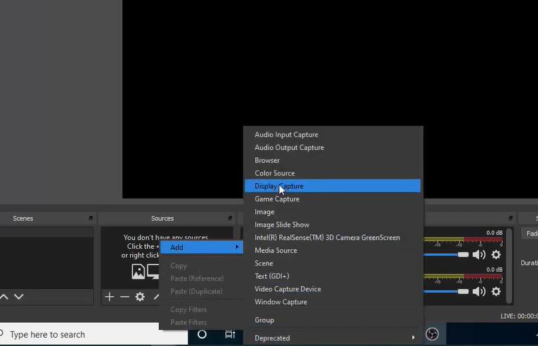 Select Display Capture option