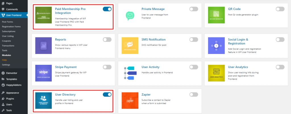 Activate the User Directory and Paid Membership Pro Integration