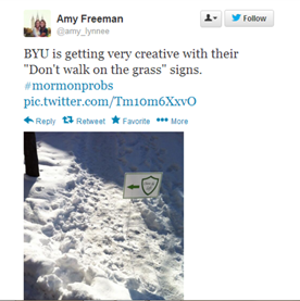 stay off the grass byu tweet
