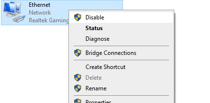 Disable ethernet valid ip configuration