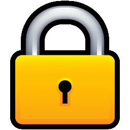 Graphic padlock design, with a golden/yellow body of the lock.