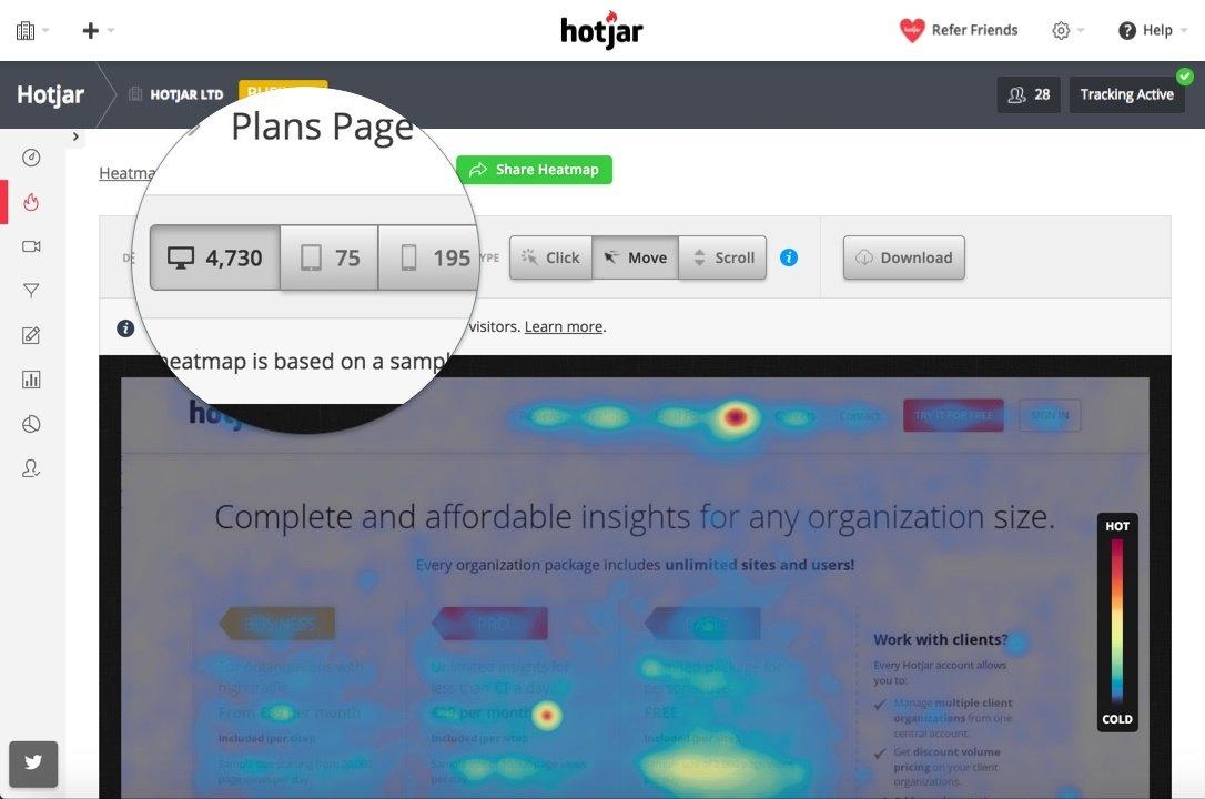 Hotjar homepage with navigation panel highlighted