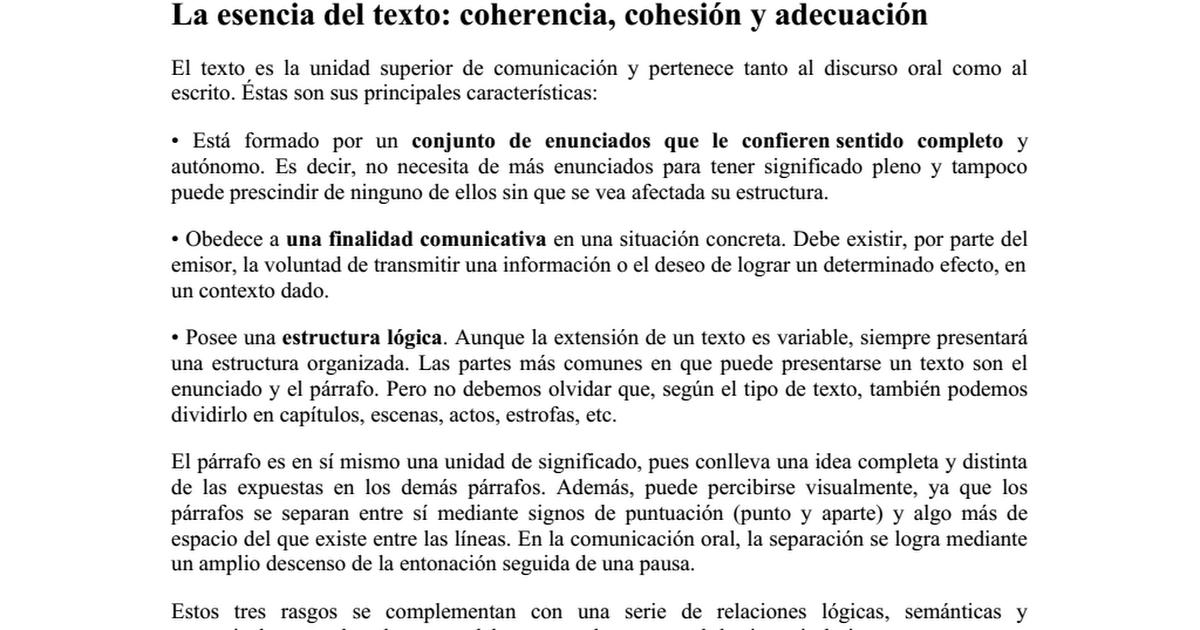 La Esencia Del Texto Docx Google Drive