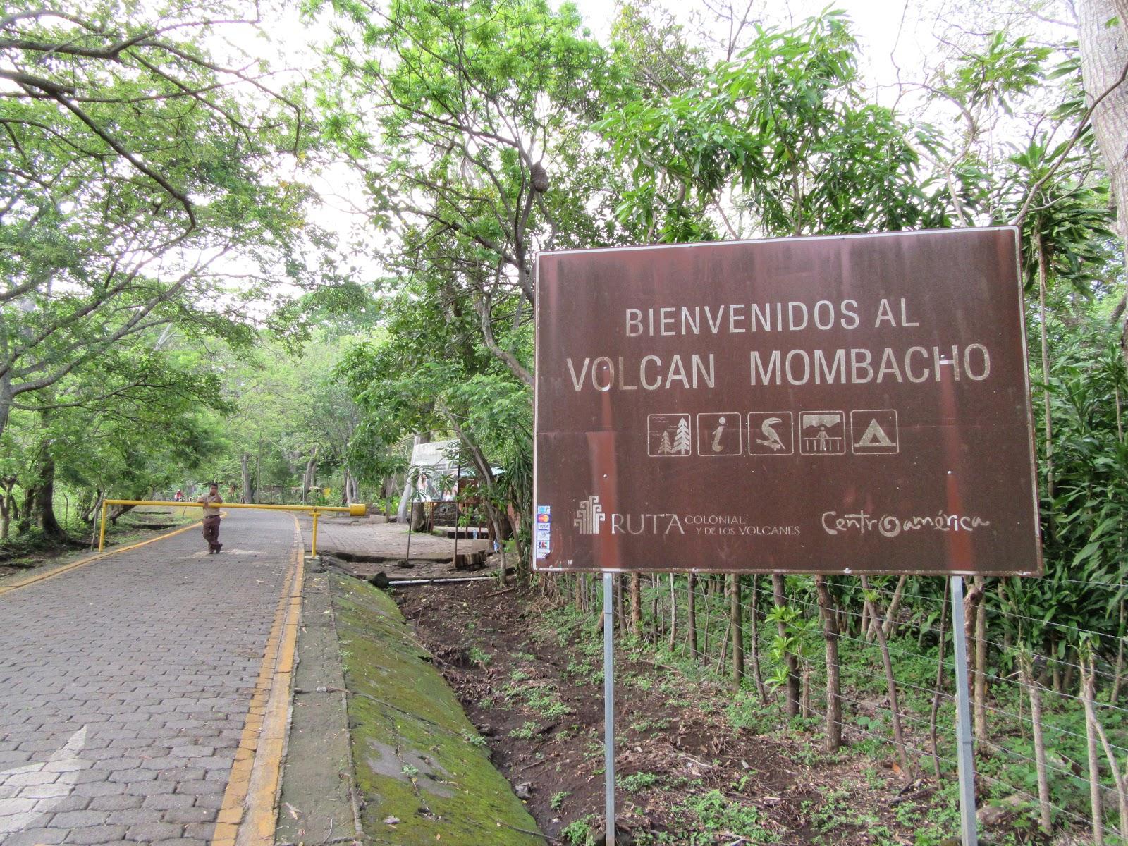 biking Mombacho Volcano - sign at gate