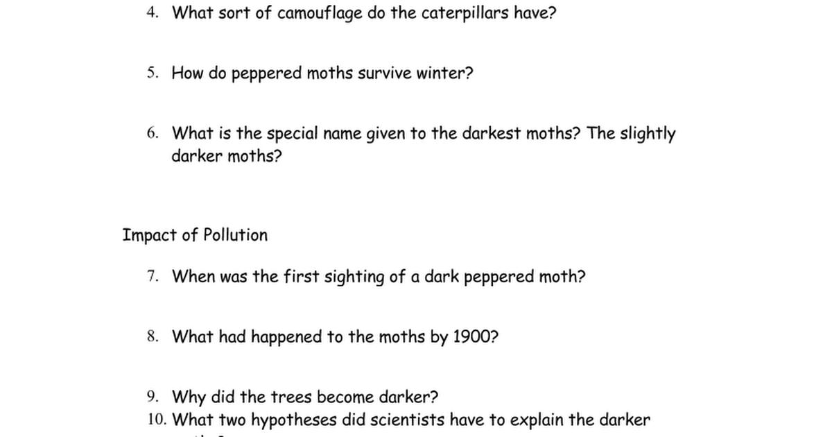The Peppered Moth Webquestdoc Google Docs – Peppered Moth Worksheet