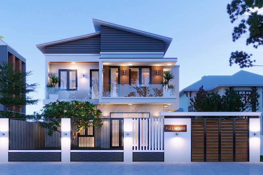 Thiết kế nhà biệt thự 2 tầng mái lệch