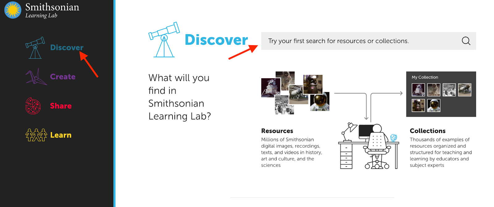 Image of the Discover Screen with an arrow pointing at the search field.