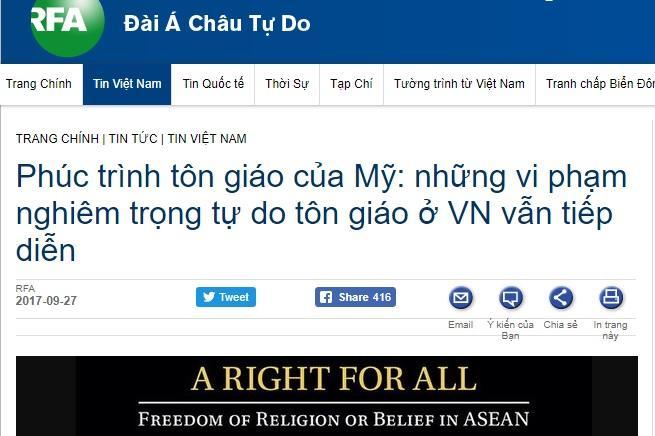 Phúc trình mới về tình hình tự do tôn giáo - tín ngưỡng tại khu vực các nước thuộc Hiệp hội các Quốc gia Đông Nam Á - ASEAN