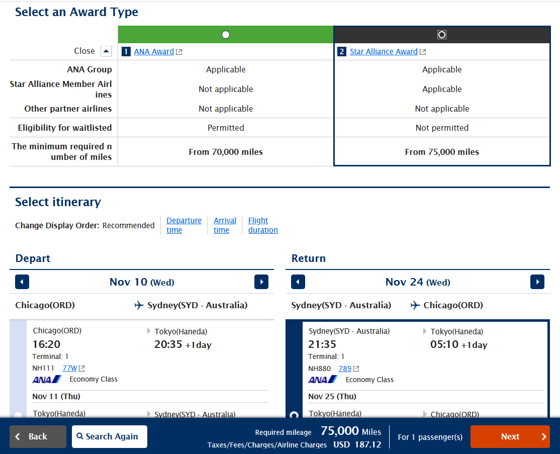 Award type selection and itinerary selection
