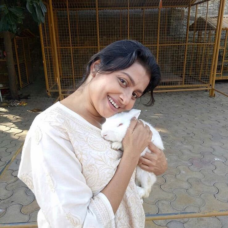 jaya bhattacharya with rabbit