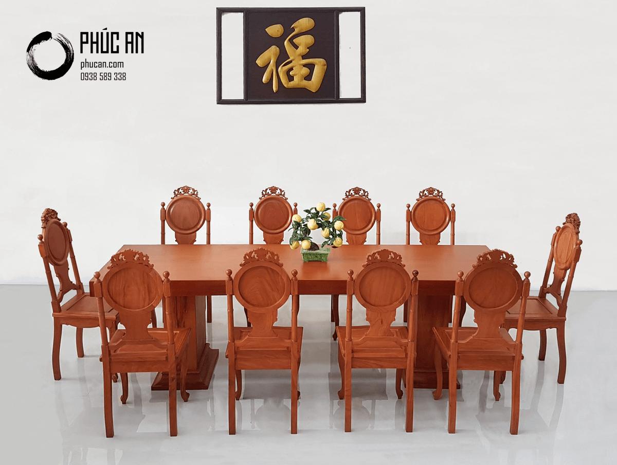 Bộ bàn ăn gỗ Gõ nguyên tấm dài 256cm + 10 ghế