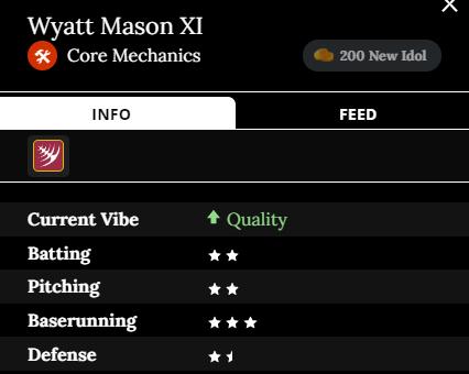 Wyatt Mason XI player card Team: Core Mechanics Current Vibe: Quality Batting: two stars Pitching: two stars Baserunning: three stars Defense: one and a half stars