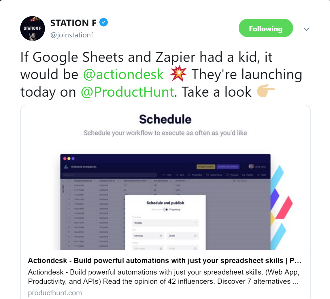 actiondesk producthunt, producthunt