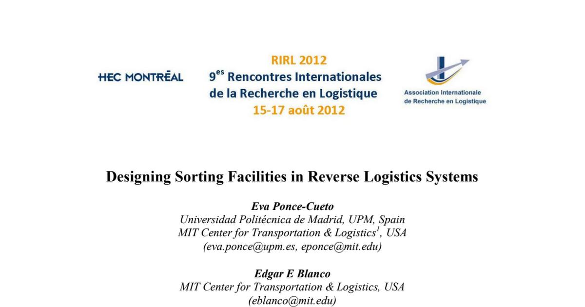 rencontre internationale de la recherche en logistique)
