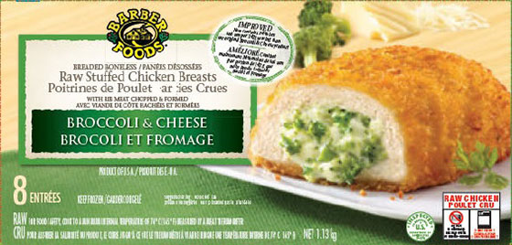 Barber Foods brand Raw Stuffed Chicken Breasts - Broccoli and Cheese - 1.13 kilograms