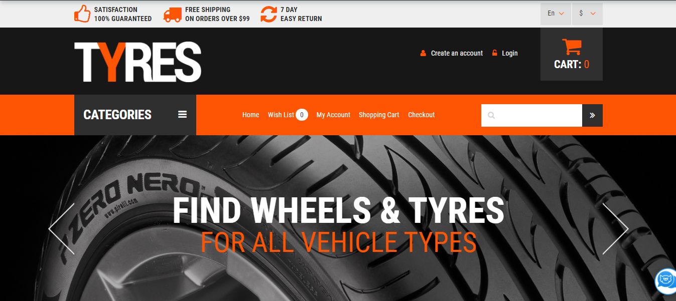 Wheels and Tyres - Opencart themes