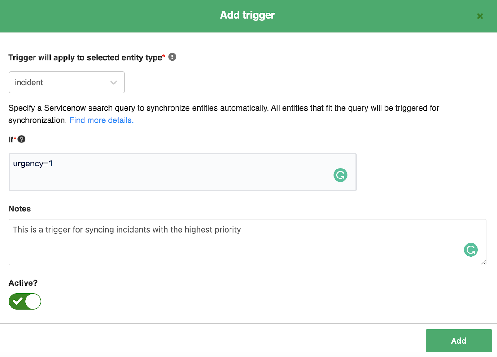 add a trigger to Salesforce ServiceNow sync