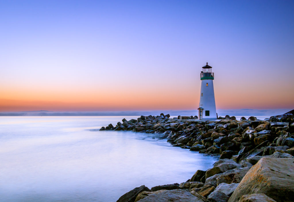 Sea, Sunrise, Lighthouse