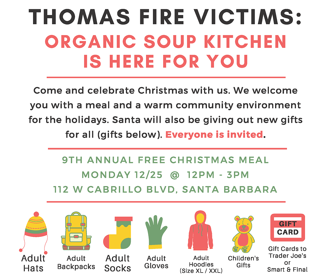 Organic Soup Kitchen Christmas meal for firefighters first responders edhat this meal is free and open to everyone come rebuild our community with your neighbors workwithnaturefo