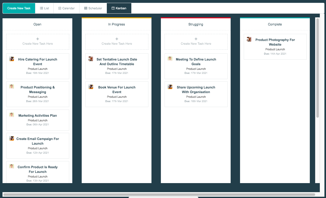 Project.co kanban view