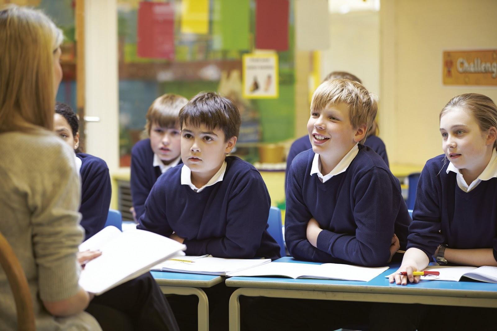 Students enjoying their teacher's lesson.