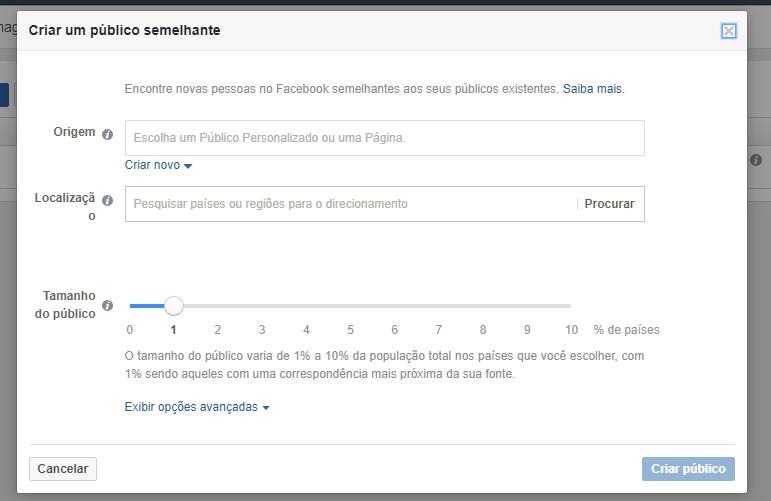 como configurar publico semelhante facebook