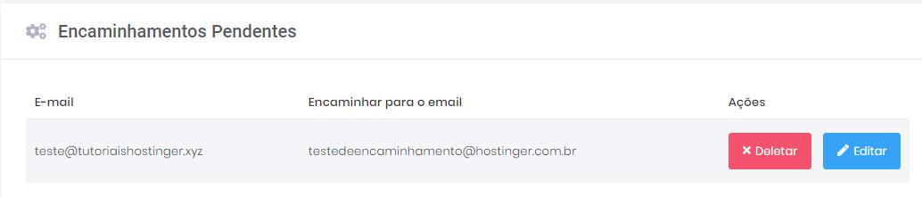 deletar ou editar redirecionamento de email na hospedagem hostinger