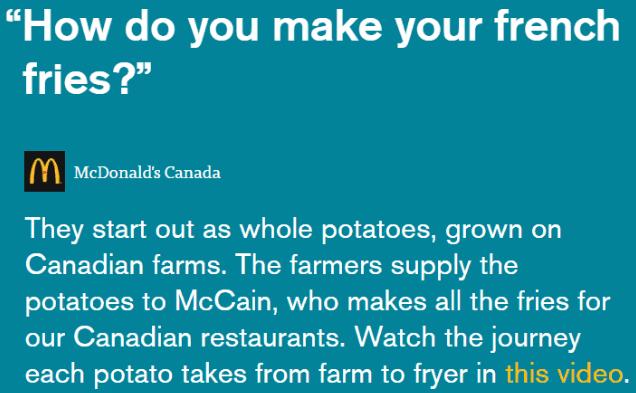 resposta do mcdonalds para pergunta de clientes sobre a produção de batata frita