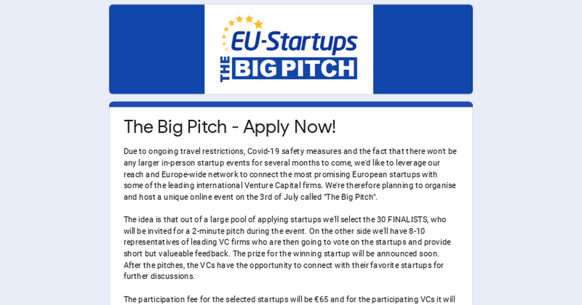 The Big Pitch - Apply Now!