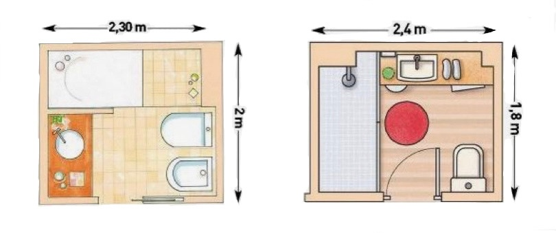 схемы планировок маленьких санузлов