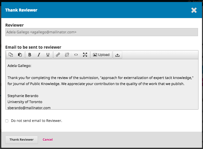 The Thank Reviewer window.