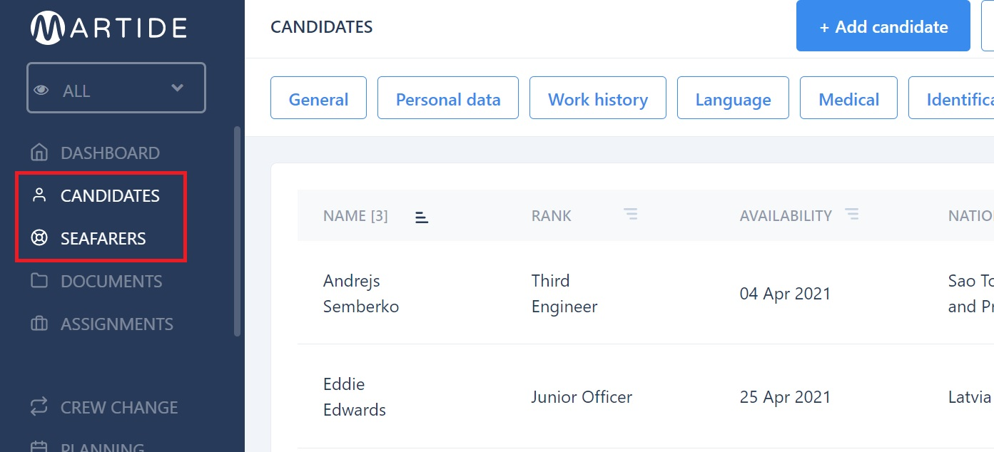 screenshot of where to find the candidates and seafarers pages