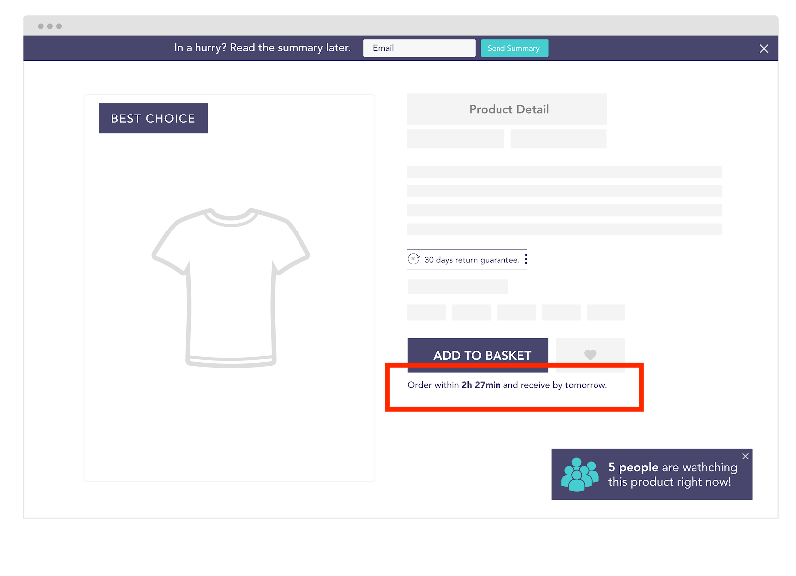 conversion funnel optimization PDP urgency