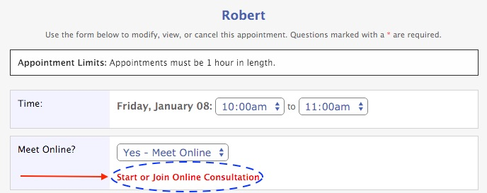 Joining an online consultation