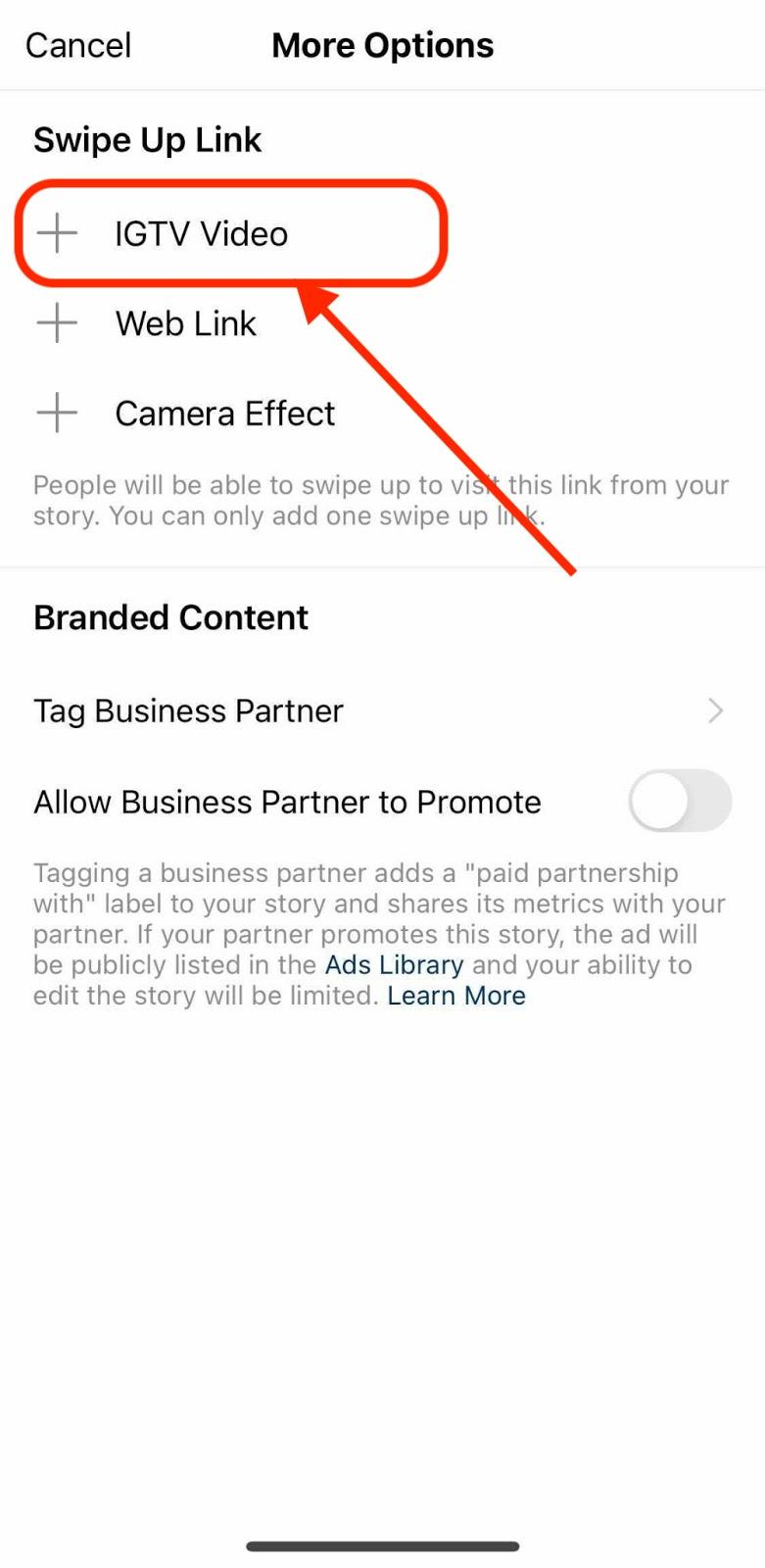 Screenshot of adding the IGTV video option.