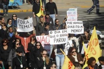 Manifestação em Santana do Livramento durante 'greve geral'