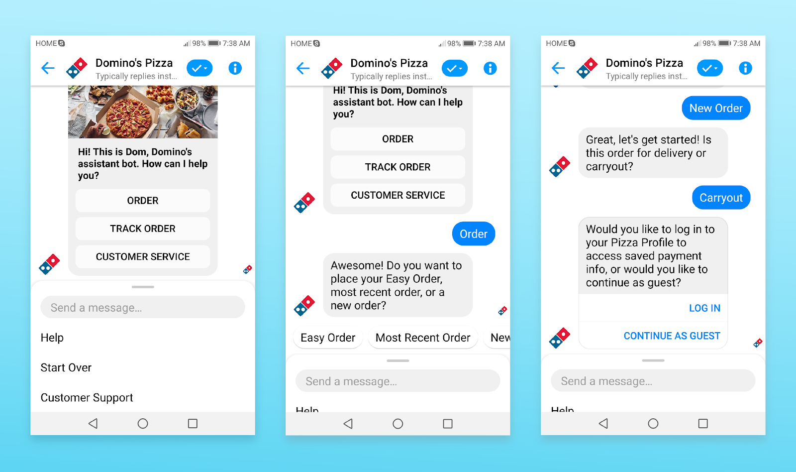 Service/Action chatbot