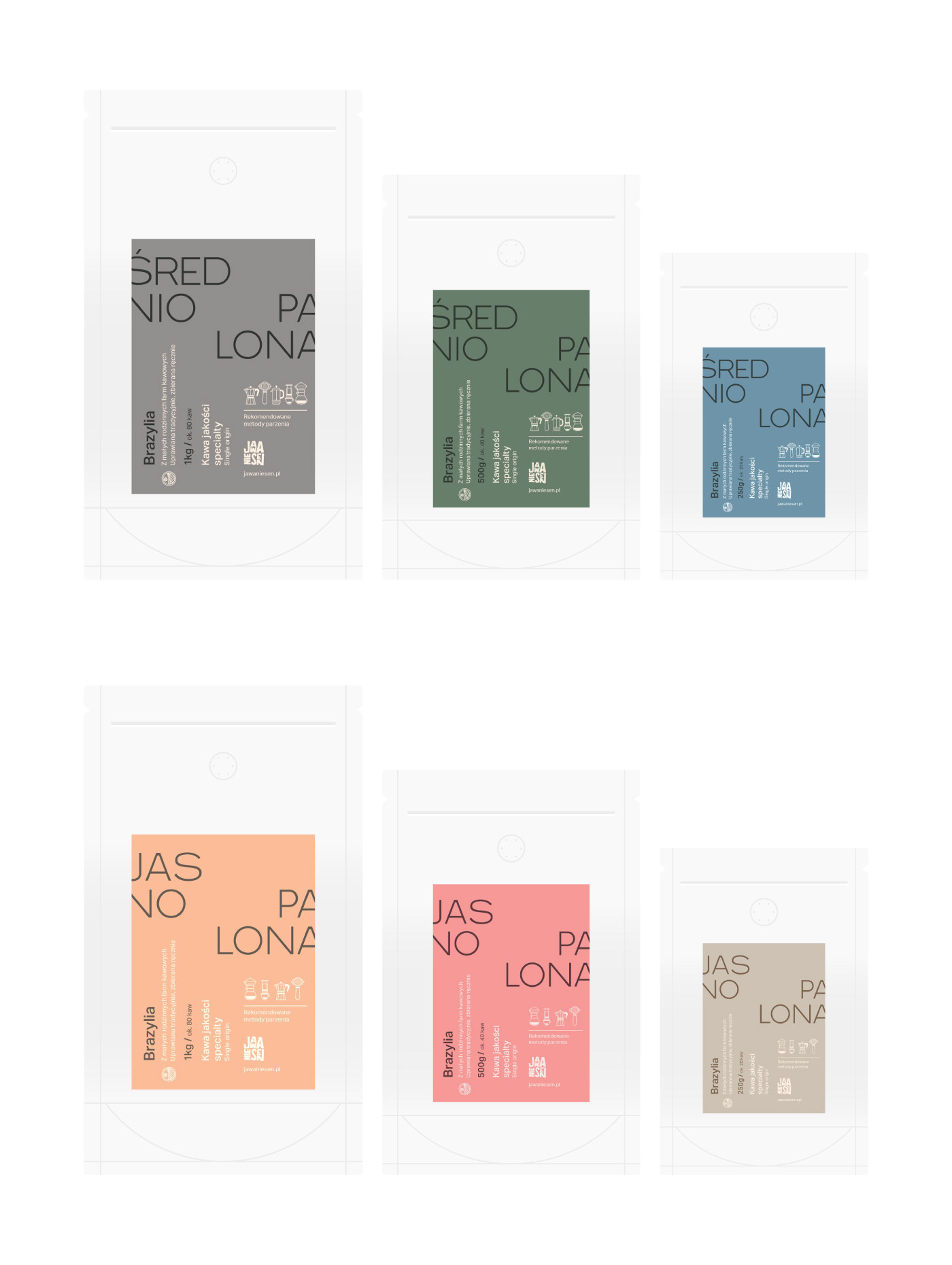 Flat outlined artwork of a range of coffee bags.