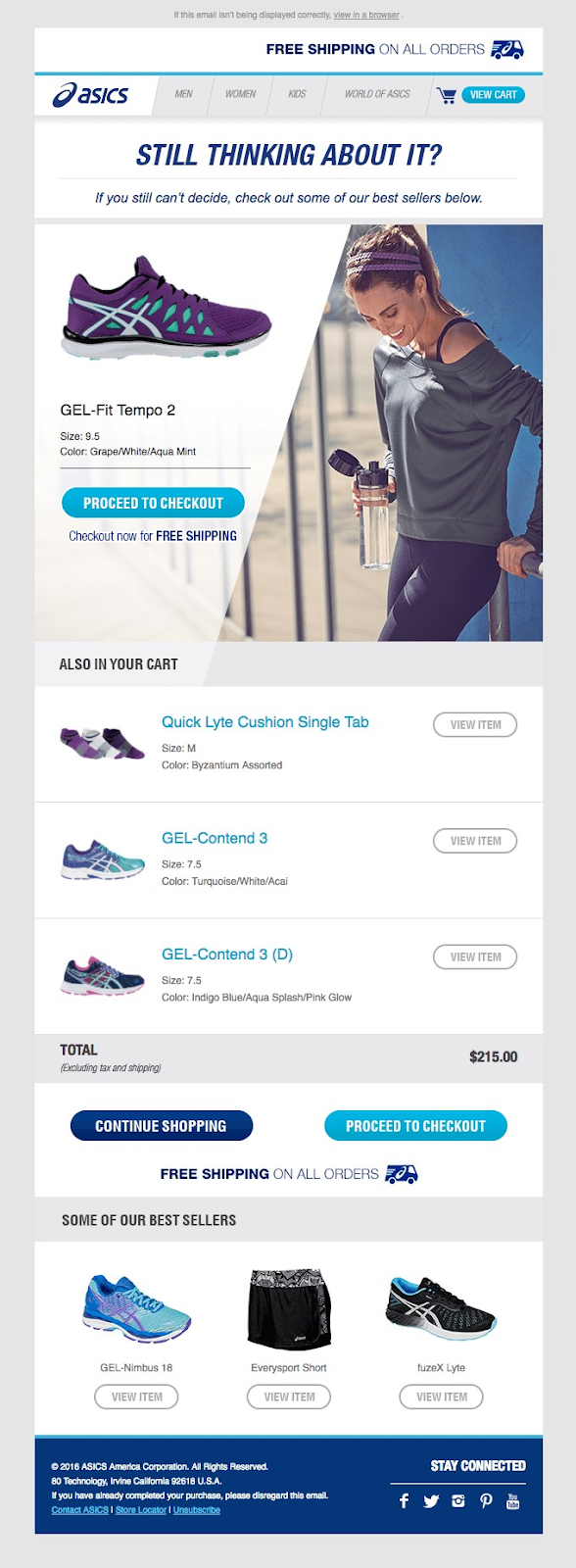 guided selling asics retargeting email