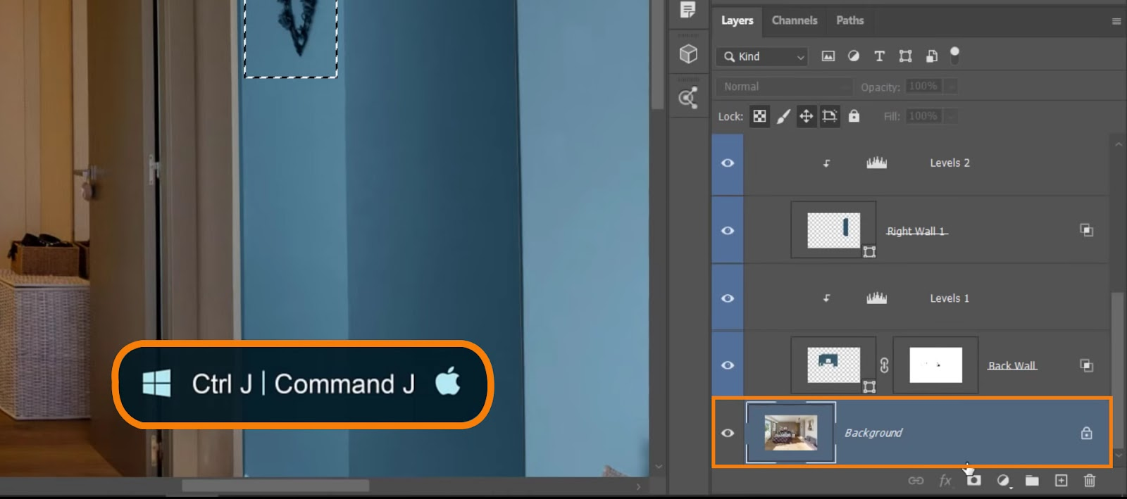 Go to the original Background layer and press Ctrl J (Windows) or Command J (macOS) to place wall decoration in its layer