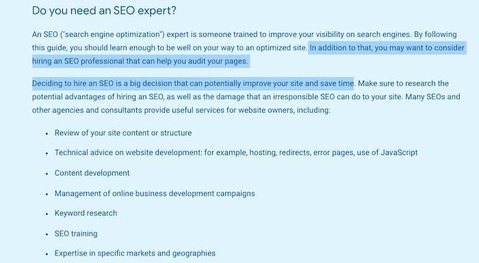 Hình ảnh hướng dẫn khởi động của Google khuyến nghị việc thuê các SEO chuyên nghiệp (một trong những lầm tưởng về SEO đang bị phá vỡ đối với bất kỳ ai cũng có thể làm SEO)