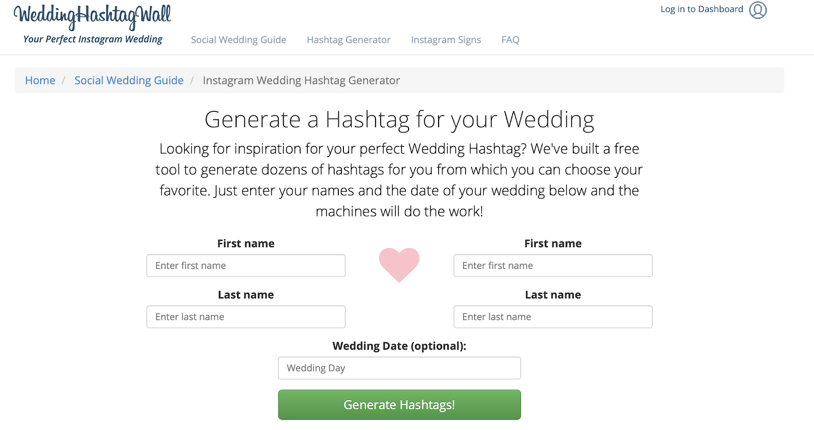 Instagram Wedding Hashtag Generator