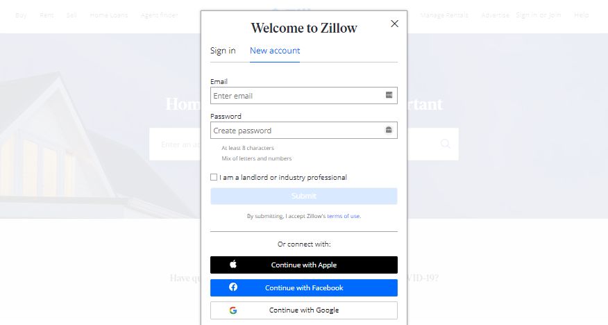 How to build a real estate website: Zillow Registration