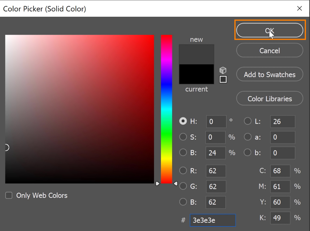 On the Color Picker window, select a dark grey color and press OK to exit the window