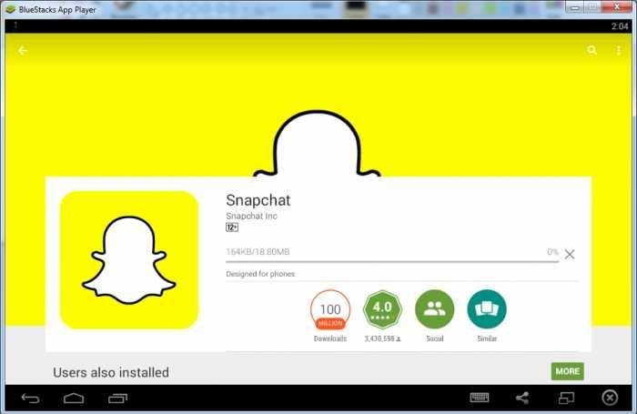 Installing Snapchat on PC with Bluestacks