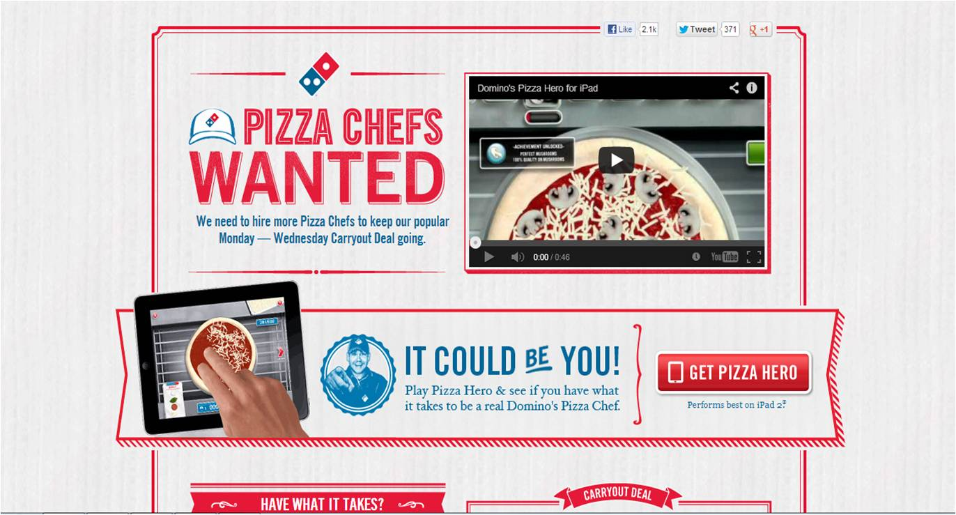 Example of eLearning gamification: Dominos Pizza