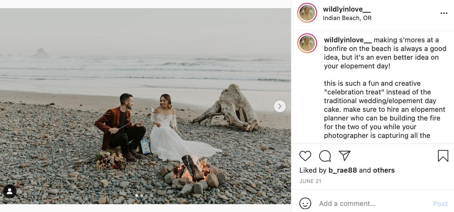 s'mores for beach wedding