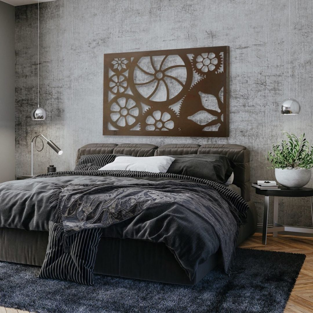 A Steampunk Wall Art Above the Bed